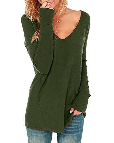 Long Sleeve V-neck Blouse - StyleDome Women's Sexy V Neck Long Sleeve Blouse Casual Loose Pullover Casual Top Blouse T-Shirt Army Green 1 L