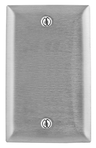Bryant Electric SS13L 1-Gang 1-Blank, Box Mount, Standard Size 430 Stainless Steel Wallplate, With Removable White Protective Film