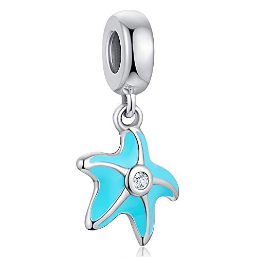 ANGELFLY 925 Sterling Silver Sea Turtle Pendant Charm with Blue CZ Ocean Animal Charms fit European Bracelets (Starfish)