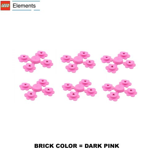 Lego Parts: Plant Flower Small, Sprue of Four (PACK of 6 Dark Pink Flower Sprues)