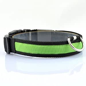 Goliton® Noche de luz LED intermitente collar de seguridad ajustable de nylon para mascotas dog-green/L