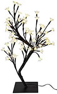 Creative Motion 64-Piece Warm LED Lights Desk Top Cherry Blossom Tree, 17.71-Inch, White