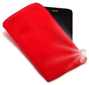 """""""Infinito"""" Rojo, Lujosa Billetera / Sostenedor de neopreno con cierre y con correa para Motorola DEFY. Funda / Estuche / Sostenedor único, resistente a salpicaduras de agua y cierre para teléfonos móviles."""