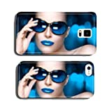 Fashion Model Woman in Blue Oversized Sunglasses. Colorful Makeu cell phone cover case Samsung S5