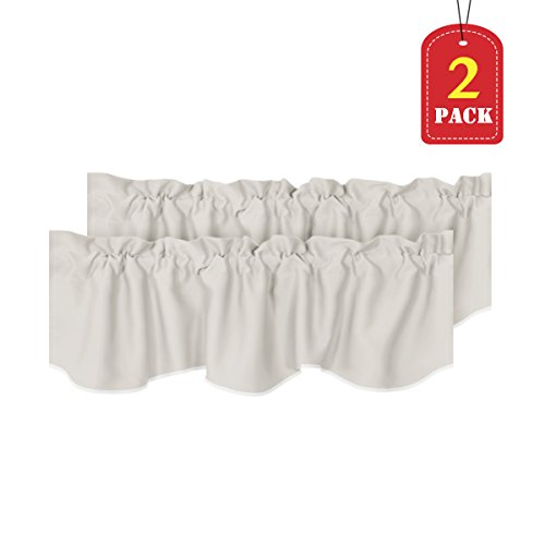 H.VERSAILTEX Room Darkening Blackout Window Curtain Valances for Living Room/Bedroom, 2 Pack, 52 inch x 18 inch, Solid Cream