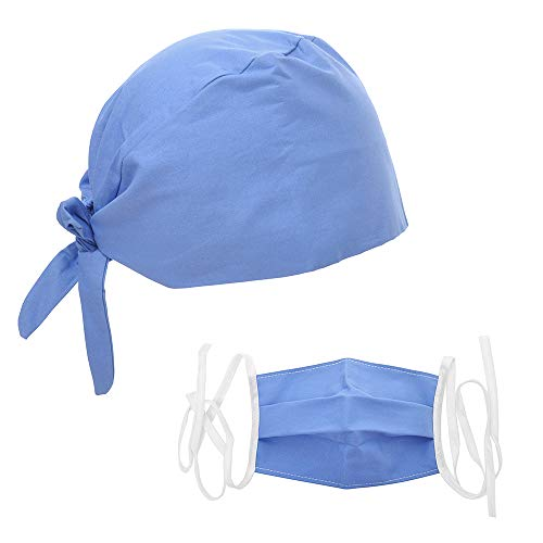 - Opromo Adjsuatble Tie Back Scrub Cap Scrub Hat with Sweatband and Cotton Masks-Light Blue