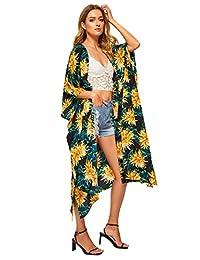 SweatyRocks Tassel Recortar de la Mujer Maxi Kimono Chaqueta de Punto, Long Beach Cover Up
