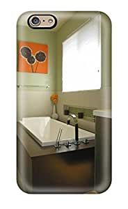 Premium Protection Contemporary Bathroom With Green Walls Rectangular Tub 038 Orange Painting Case Cover For Iphone 6- Retail Packaging(3D PC Soft Case)