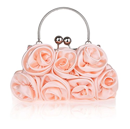 (Summer New Women's Satin Evening Bag with Rosettes Evening Clutch Bag (Champagne))