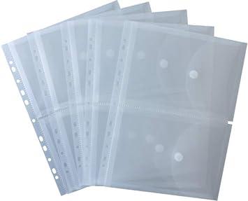 HFP - Juego de 2 fundas para documentos A5 en lmina tamao A4 (cierre de velcro y margen perforado para archivador, 5 unidades): Amazon.es: Oficina y papelería