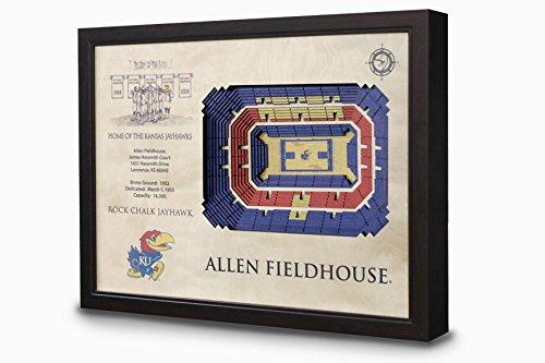 Kansas Jayhawks House (NCAA Kansas Jayhawks - Allen Fieldhouse Stadiumview Wall Art, One Size, Birch Wood)