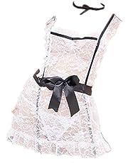 ملابس داخلية تنكرية مخرم من الدانتيل على شكل زي الخادمة الفرنسية للنساء من سي جي