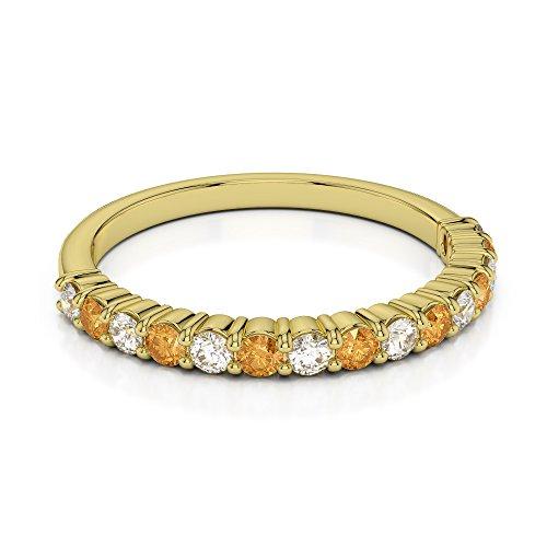 Or jaune 18carats 0,21CT G-H/VS Certifié Coupe ronde Citrine et diamants Agdr-1113
