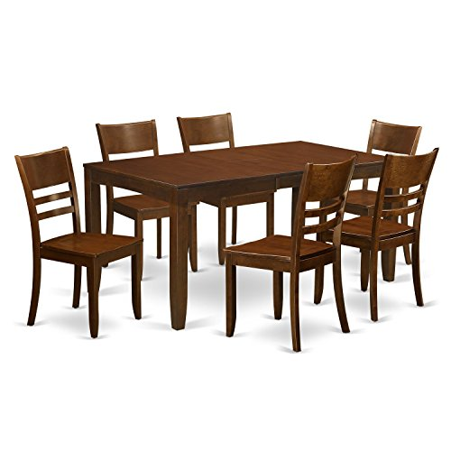 East West Furniture LYFD7-ESP-W 7-Piece Dining Room Table Set, Espresso Finish - 7 Piece Espresso Finish