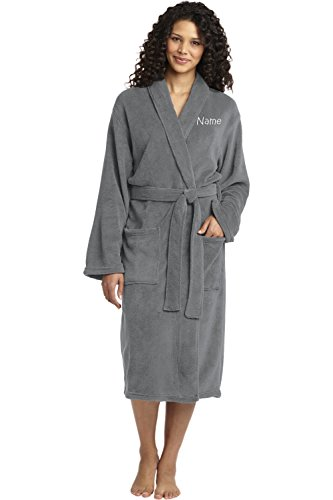 Personalized Plush Microfleece Robe with Embroidered Name, Smoke, Small/Medium -