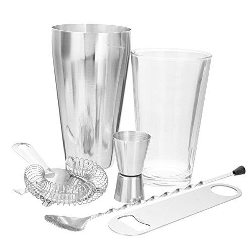 Vivona Hardware & Accessories Set Stainless Steel Glass Boston Shaker Maker Cocktail Martini Spirits Hawthorn Strainer Bar Spoon