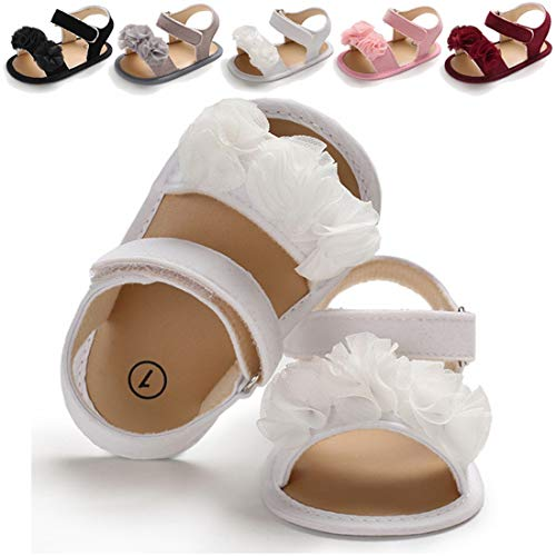 Infant Baby Girls Summer Sandals with Flower Soft Sole Newborn Toddler First Walker Crib Dress Shoes(0-18 Months) (12-18 Months M US Infant,A-White Baby Girl -