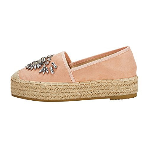 JENN ARDOR Women's Espadrille Flats Casual Sneakers Jeans Platform Slip-On Shoes with Shiny Rhinestone,9 B(M) US (25.1CM),Pink Fabric by JENN ARDOR (Image #1)