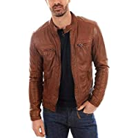 new bapa sitaram Men s Leather Jacket Biker Bomber Motorcycle Center Zip Slim Fit Lambskin Dark Tan (2xl)