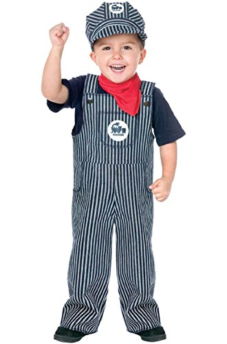 Train Conductor Engineer Striped Overalls Boys Outfit Toddler