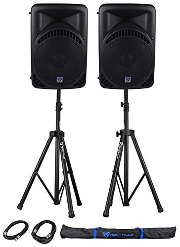 (2) Rockville RPG15BT 15'' 2000w Powered BlueTooth/USB DJ Speakers+Stands+Cables by Rockville