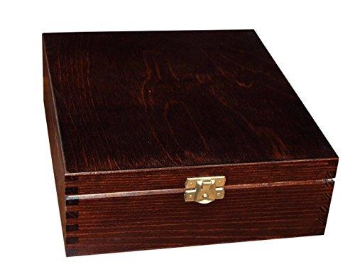 Wooden Tea Box Bag Chest  12 Compartment Tea Caddy Kitchen Brown Laquered H12b