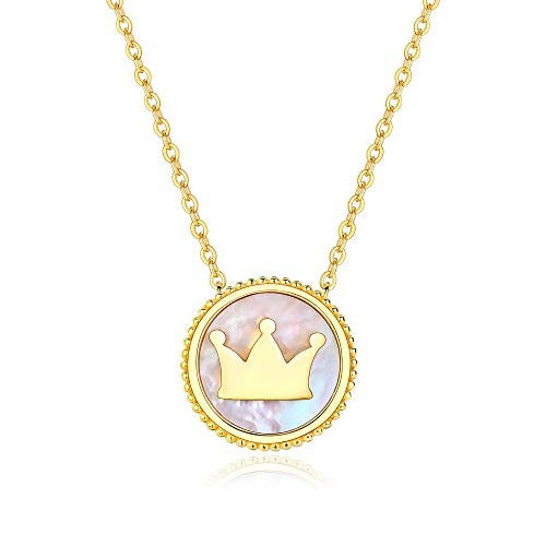 (Crown Shell Necklace for Women Summer Beach Ocean 925 Sterling Silver Pendant Charms Yellow Gold Platinum Plated Dainty Teen Girls Anniversary Fashion Jewelry Gift for Her with Box Adjustable)