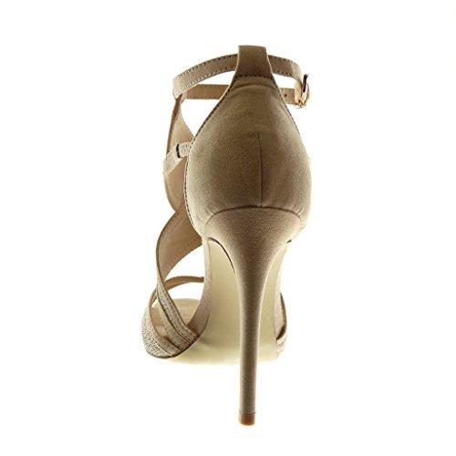 Talon Mode cm Escarpin 11 Haut Toe Stiletto Lanière Aiguille Sandale Lanière Femme Bicolore 5 Cheville Angkorly Peep Chaussure Beige 7TwAxq5