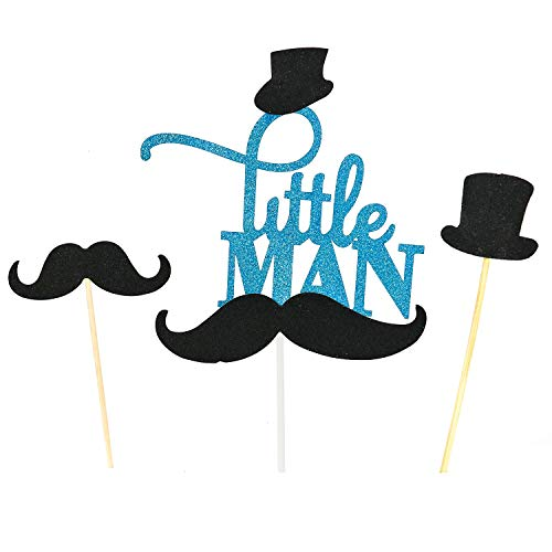 HUELE Set of 31 Glitter Blue Mustache Little MAN Cake Topper Mini Mustache Hat Cupcake Picks For Baby Shower Birthday Decorations Supplies
