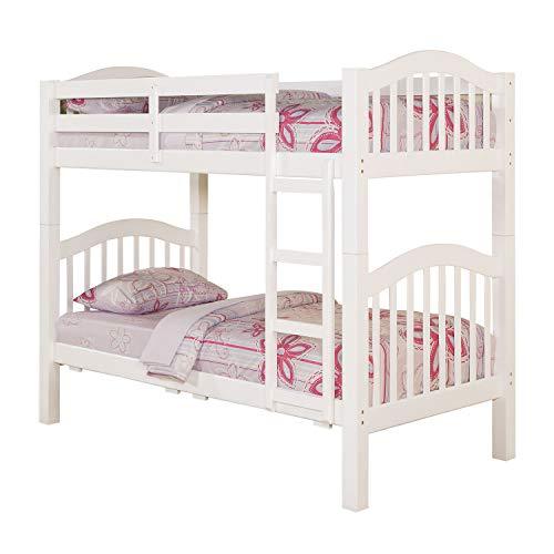 - HomeRoots Twin/Twin Bunk Bed, White - Pine Wood, Birch Veneer, White