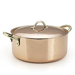 Kuprum Copper Pot 4 Quarts Tin Lined Hand-Hammered