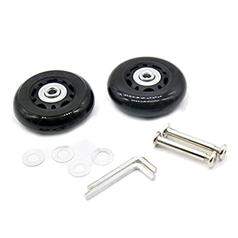 70x24mm 2 Sets Wadoy Luggage Suitcase Wheels Replacement for Inline Outdoor Skate with Axles Screws Washers Wrenches