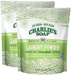 product image for Charlie's Soap Laundry Powder (100 Loads, 2 Pack) Hypoallergenic Deep Cleaning Washing Powder Detergent – Eco-Friendly, Safe, and Effective
