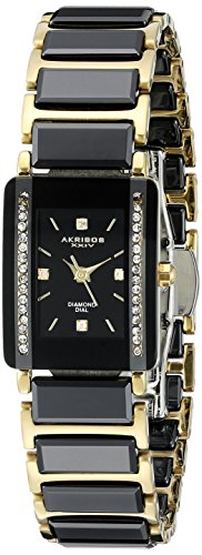 Akribos XXIV Women's AK522BKG Quartz Movement Watch with Black Dial and Yellow Gold and Black Ceramic Bracelet