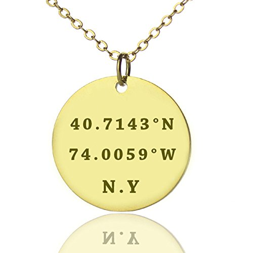 Golden Buddha Halloween Costume (925 Sterling Silver Personalized Latitude and longitude Location Coordinate Disc Necklace 16