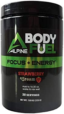 Alpine Innovations Body Fuel Focus Energy – Great Tasting Supplement Made to Enhance Focus and Provide Energy Without The jitters. 30 Scoop Tub, Strawberry Cream