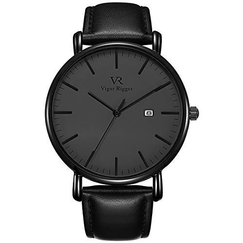 Vigor Rigger Men's Fashion Slim Quartz Date Wrist Watch with Leather & Mesh Band (Black)