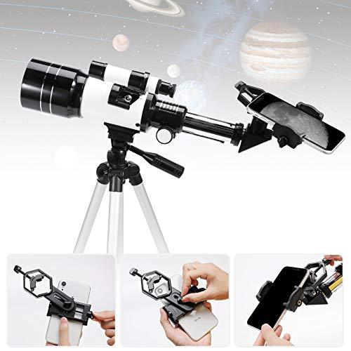 Telescopi per telescopio astronomico Aastronomy 70/300 con adattatore per treppiede regolabile e filtro lunare in metallo - Ranipobo