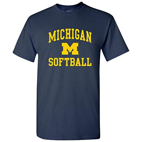 UGP Campus Apparel AS1114 - Michigan Wolverines Arch Logo Softball T Shirt - Small - Navy