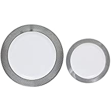 """Table To Go """"I Can't Believe It's Plastic"""" 50 Piece Plate Set, 25 10"""" Dinner Plates and 25 7.5"""" Salad Plates, Silver Florence Design, White"""
