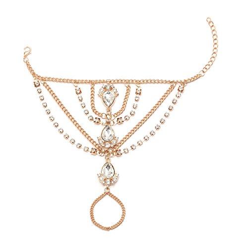 Ingemark Statement Crystal Wedding Bridal Charm Bracelet for Women Adjustable Rhinestone Gold Silver Bangle (Golden)