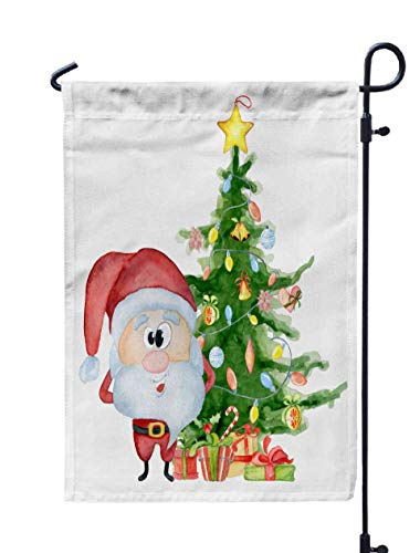 Shorping Welcome Garden Flag, 12x18Inch Cute Santa Christmas Tree Gifts Watercolor for Holiday and Seasonal Double-Sided Printing Yards Flags -