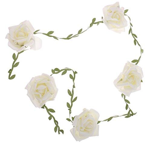MonkeyJack Wedding Prom Bunting Banner Foam Rose Flower Hanging Bunting Garland - Milk White, 100cm