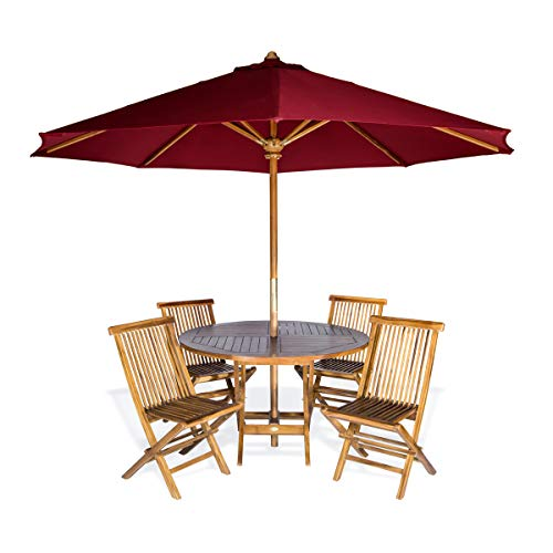 - All Things Cedar TT6P-R-R Teak Round Patio Table & Folding Chair Set with Red Teak Market Table Umbrella, 6-Piece