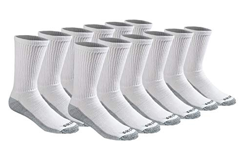 (Dickies Men's Multi-Pack Dri-Tech Moisture Control Crew Socks, White (12 Pair), Shoe Size: 6-12)