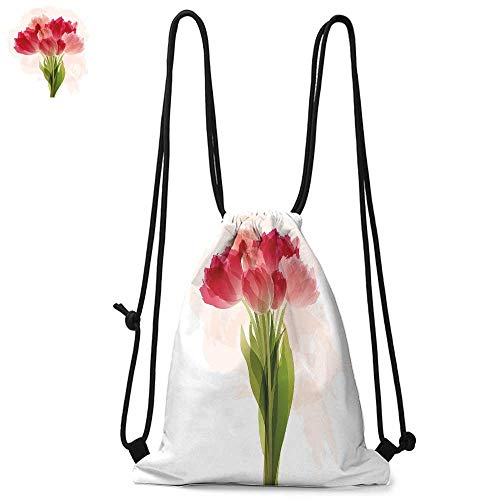 - Floral Easy to carry drawstring backpac Watercolor Painting Bouquet of Tulip Flower Artistic Botanical Romantic Print Durable Drawstring Backpack W13.8 x L17.7 Inch Pink Coral Green