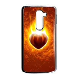 Khju LG G2 Cell Phone Case Covers Black Beast On Fire