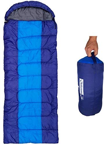 (Outdoorsman Lab Sleeping Bag | Lightweight Backpacking & Camping Sleeping Bag for Adults & Kids | 3 Season, Durable Ripstop Nylon, Tear & Water-Resistant Shell | Incl Compression Sack (XL-Dark Blue))