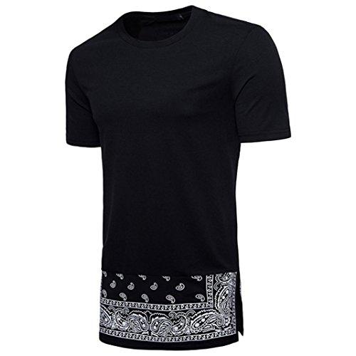 Druckblusen Hippies Shirts Shirts T Männer Style im Ethno T Rundhals Herren Fit Longra Hip Shirt Longshirt Black Mode Shirt Slim Shirt Hipster Hop Kurzarmshirt Print 1OX4Yg