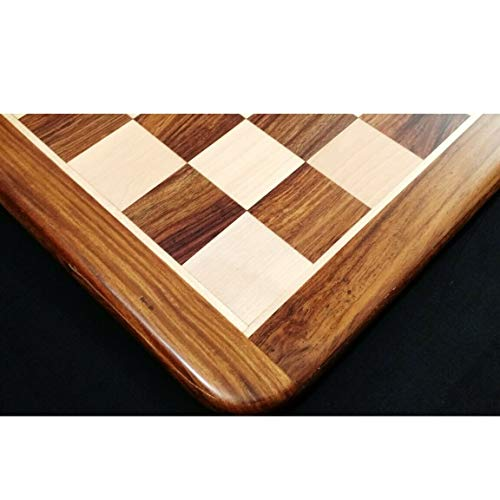 RoyalChessMall-19 Solid Inlaid Wood Chess Board -Golden Rosewood & Maple Wood-50 mm Square